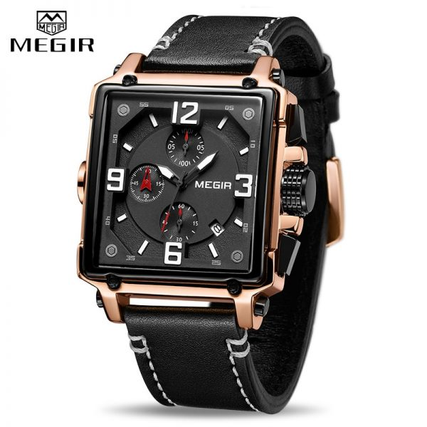 Luxury Brand MEGIR Chronograph Men Watches Leather Business Quartz Watch Men Fashion Sport Military Wristwatch Relogio Masculino