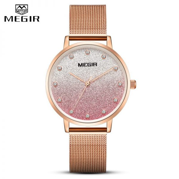 MEGIR 2020 Women Rose Gold Watches Lady Bracelet Watch Woman Luxury Rhinestone Top Brand Wristwatch Ladies Crystal Quartz Clock