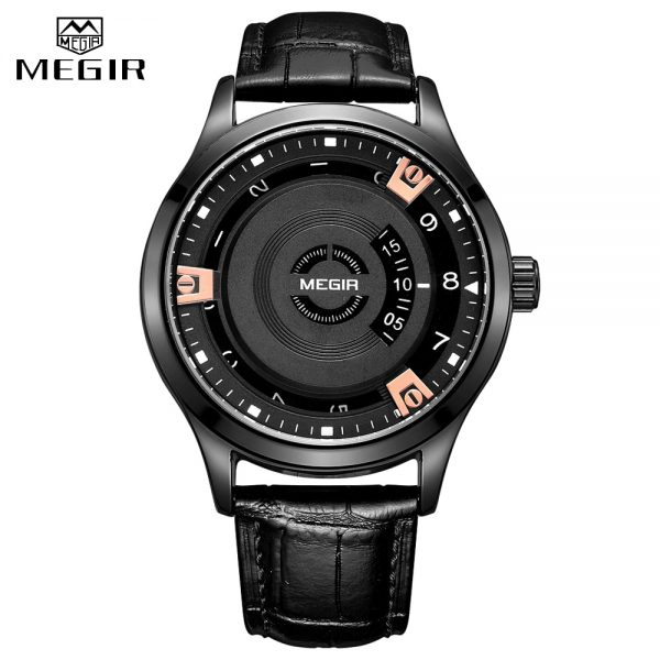 MEGIR Black Genuine Leather Straps Wristwatches Men's 2020 New Creative Fashion Luxury Unique Style Men Quartz Watches Clock