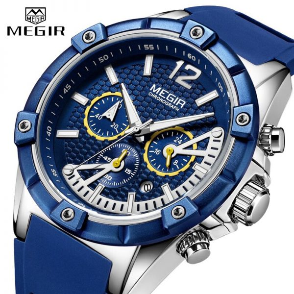MEGIR Chronograph Sport Men Watch Waterproof Silicone Quartz Watches Men Clock Hour Army Military Wristwatches Relogio Masculino