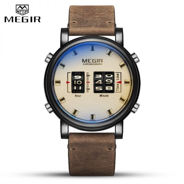 MEGIR Fashion Men's Roller Design Business Clock Men Quartz Watch Leather Waterproof Casual Sport Mens Watches Relogio Masculino