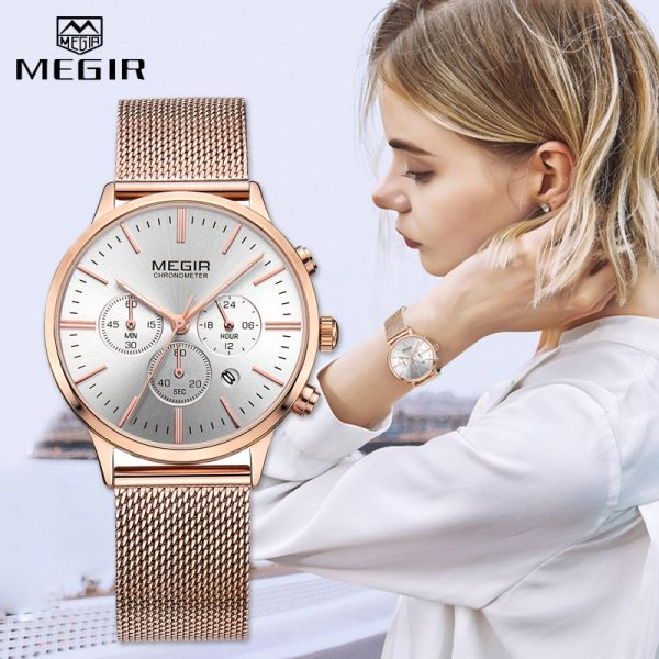 MEGIR Fashion Rose Gold Women Watch Luxury Brand Quartz Wrist Watch Ladies Casual Bracelet Watches Sport Relogio Feminino Clock