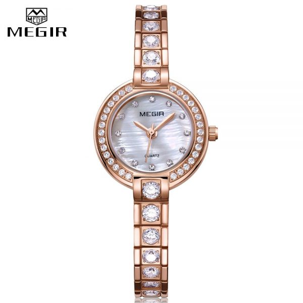 MEGIR Ladies Brass Strap Luxury Watch Diamond Quartz Wristwatches 2020 Geneva Designer Women's Watches Brand Fashion Clock Gift