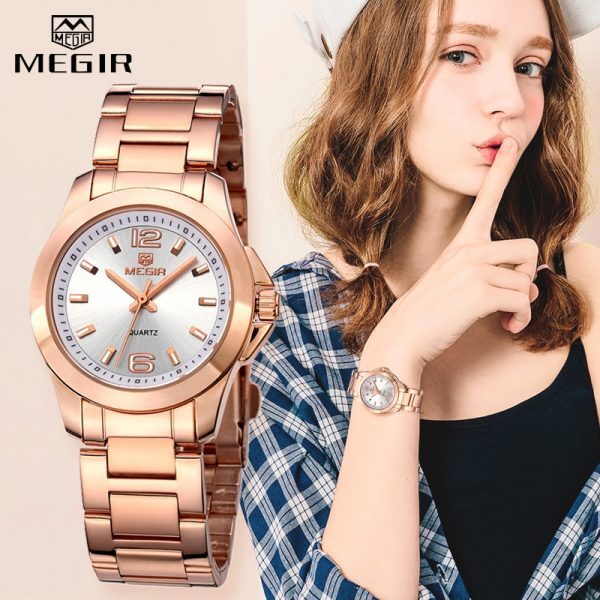 MEGIR Luxury Brand Women Dress Watches Fashion Rose Gold Bracelet Watch for Ladies Wristwatch Female Quartz Clock Montre Femme
