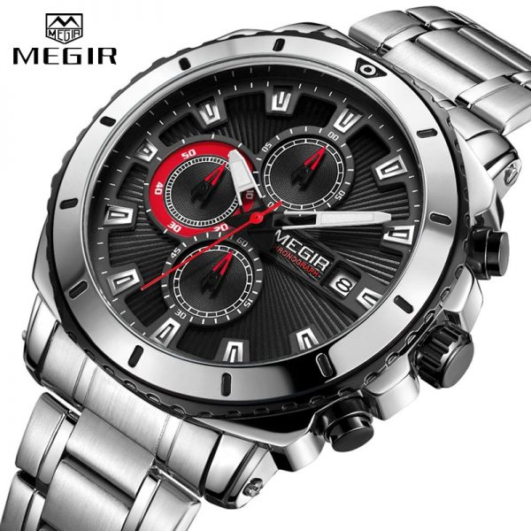 MEGIR Man Business Quartz Watch Men Watches Fashion Stainless Steel Waterproof Chronograph Luxury Mens Analog Sport Wristwatches