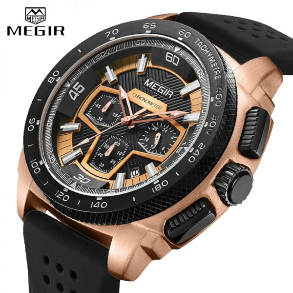 MEGIR Mens Watch Top Luxury Brand Men Analog Sport Quartz Watches Silicone Strap Waterproof Army Military Chronograph Male Clock