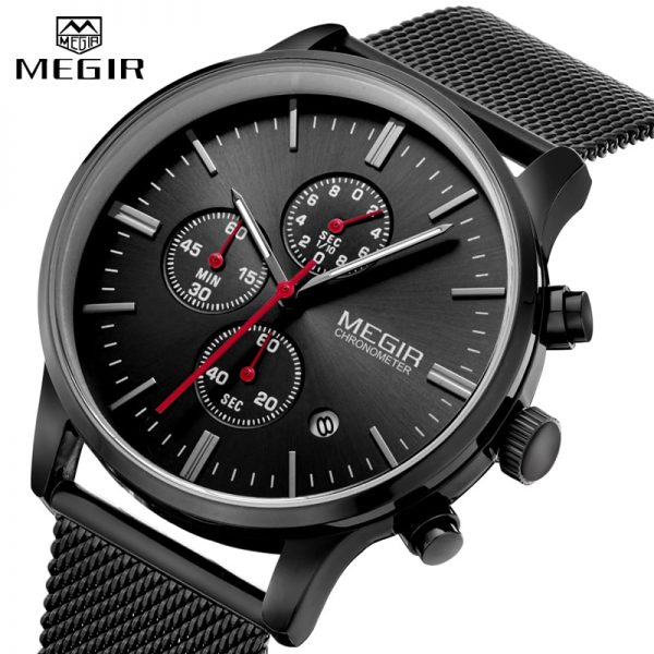 MEGIR Mens Watches Stopwatch Date Slim Quartz Watch Men Stainless Steel Mesh Band Chronograph Waterproof Wrist Watch Male Clock