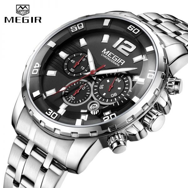 MEGIR Sport Watch Men Fashion Stainless Steel Quartz Wristwatch Military Chronograph Clock Business Casual Waterproof Watches