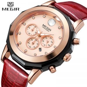 MEGIR Women Fashion Red Quartz Watch Lady Leather Chronograph High Quality Casual Waterproof Wristwatch Luxury Gift for Wife