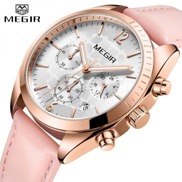 MEGIR Women Watches Top Brand Luxury Female Clock Montre Femme 2020 Fashion Pink Quartz Ladies Watch Lover Gift Relogio Feminino