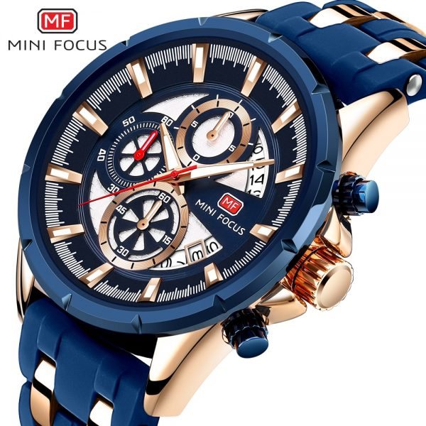 MINI FOCUS Men's Sports Chronograph Quartz Watch Male Silicone Wrist Watches Waterproof Stopwatch Man Clock Relojios Masculinos