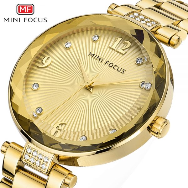 MINIFOCUS 2020 New Watch Women Casual Fashion Leather & Stainless Steel Band Quartz Wristwatches Diamond Gold Watches Lady Gift