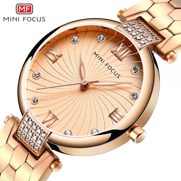 MINIFOCUS Brand Luxury Fashion Women Quartz Watches Ladies Dress Watch Women's Wristwatch Rose Gold Reloj Mujer Dames Horloges