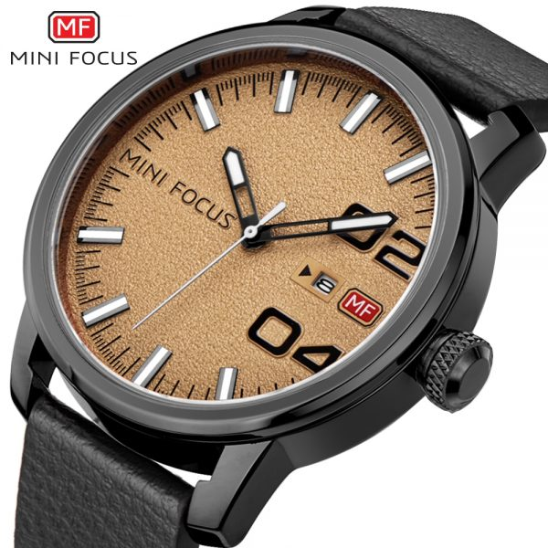 MINIFOCUS Brand Men Date Watch New Man Clock Men's Genuine Leather Strap Watchs Quartz Waterproof Wristwatch Business Masculine