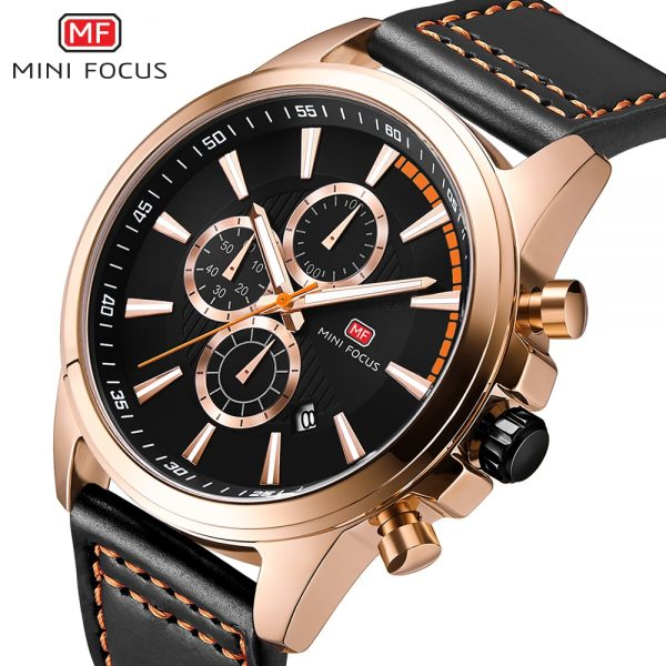 MINIFOCUS Brand Men Quartz Watch Genuine Leather Waterproof Analog Watches Male Date Clock Fashion Men's Business Wristwatches
