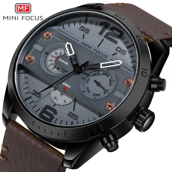 MINIFOCUS Chronograph Men's Casual Sport Quartz Watch Mens Watches Top Brand Luxury Leather Military Watch Wrist Male Clock