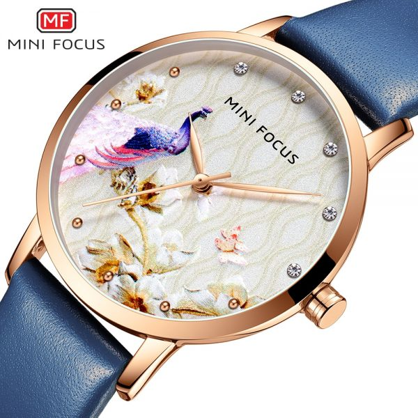 MINIFOCUS Fashion Women Blue Quartz Watch Top Brand Luxury Lady Leather Watchband Casual Waterproof Wristwatch Gift for Girl