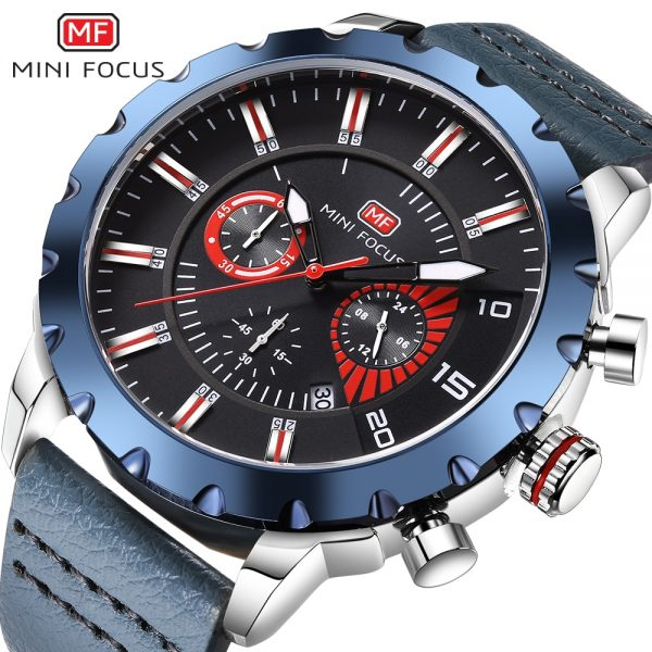MINIFOCUS Luxury Brand Men Watch Waterproof Chronograph Date Quartz Man Watches Military Army leather Male Wristwatches Clock