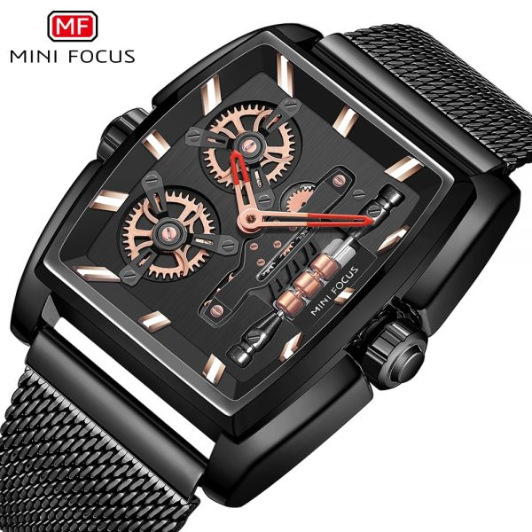 MINIFOCUS Men Business Watch Unique Design Rotating Wheels Dial Waterproof Quartz Wriswatch Stainless Steel Relogio Masculino