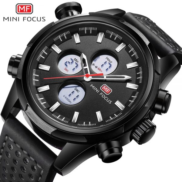 MINIFOCUS Men Watch Casual Fashion LED Quartz Analog Men's Sports Watches Genuine Leather Chronograph Male Dual Display Clock