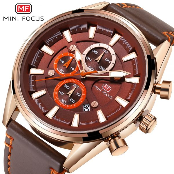 MINIFOCUS Men Watch Top Luxury Brand Genuine Leather Chronograph Quartz Male Watches Multifunction Calendar Display Clock