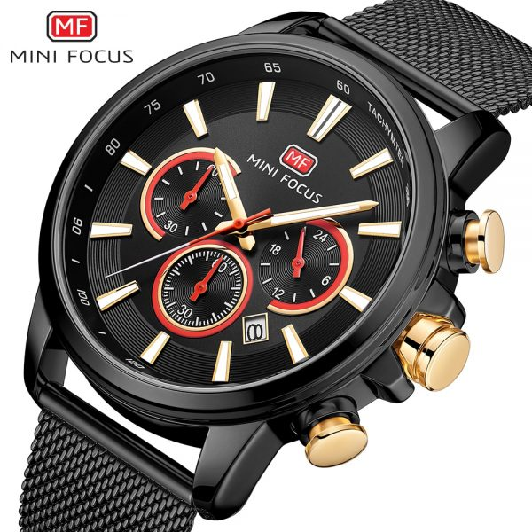 MINIFOCUS Men's Chronograph Wrist Watch Sport Stainless Steel Quartz Analog Watch Man Business Watches Mens Relogio Masculino
