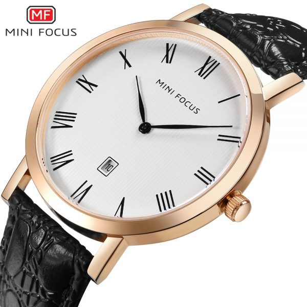 MINIFOCUS Men's Fashion Ultra-thin Dial Wristwatch Top Brand Luxury Genuine Leather Business Quartz Date Display Men Wrist Watch