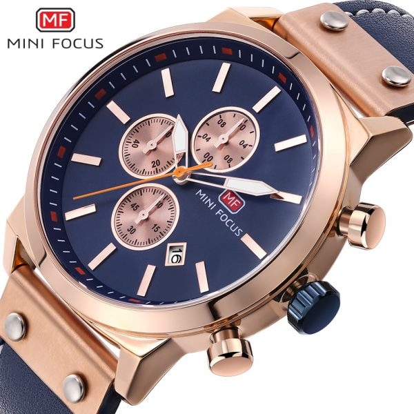 MINIFOCUS Men's Watch Hot Brands Analog Man Clock Genuine Leather Leather Waterproof Men Watches Quartz Casual Sport Male Clock