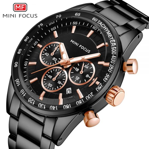 MINIFOCUS Mens Watches Top Brand Luxury Black Steel Quartz Watch Date 24 Hour Business Men Casual Sport Chronograph Wristwatch