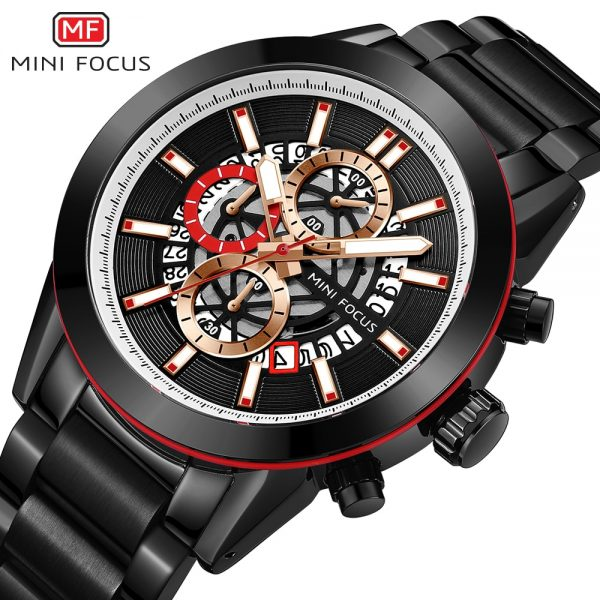 MINIFOCUS New Top Brand Luxury Fashion Men Watches Stainless Steel Sports Chronograph Quartz Watch Waterproof Relogio Masculino