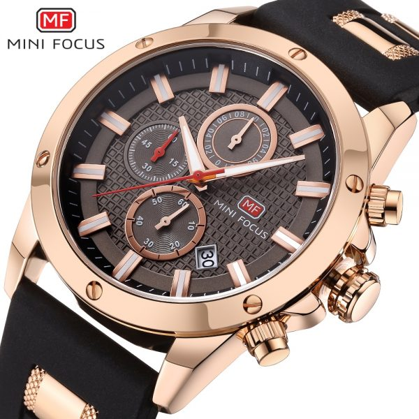 MINIFOCUS Quartz Male Sports Watches Silicone Band Watches Racing Men Students Chronograph Watch Men's Glow Hands Clock MF0089