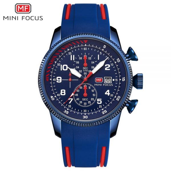 MINIFOCUS Top Brand Luxury Men Quartz Watch Fashion Business Waterproof Multifunction Clock Silicone Strap Sport Chronograph