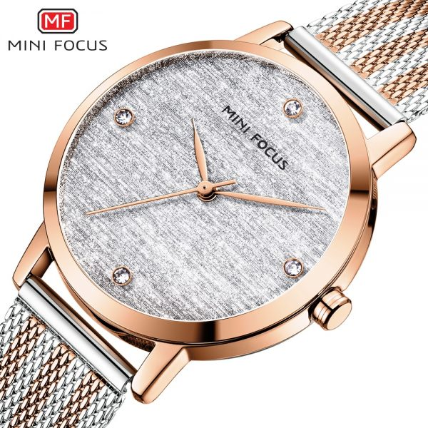 MINIFOCUS Women Rose gold Watches Top Luxury Brand Fashion Casual Ladies Quartz Watch Mesh Steel Band Lady Clock Montre Femme