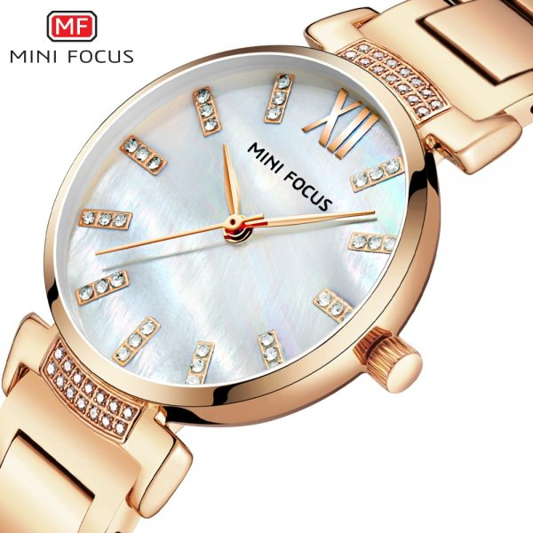MINIFOCUS Women Watches Luxury Brand Fashion Quartz Ladies Rhinestone Watch Dress Wrist Watch Simple Rose gold Clock Reloj Mujer
