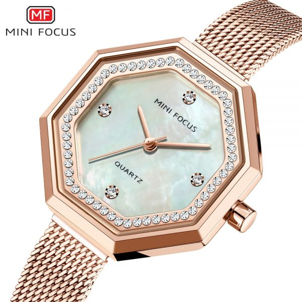 MINIFOCUS Women Watches Top Luxury Brand Rhinestone dial Fashion Quartz Ladies Mesh Stainless Steel Waterproof Gift Watch
