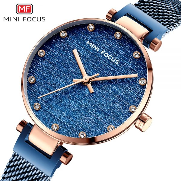 MINIFOCUS Women Watches Top Luxury Fashion Ladies Quartz Movment Blue Color Stainless Steel Mesh Strap Watch relogio feminino