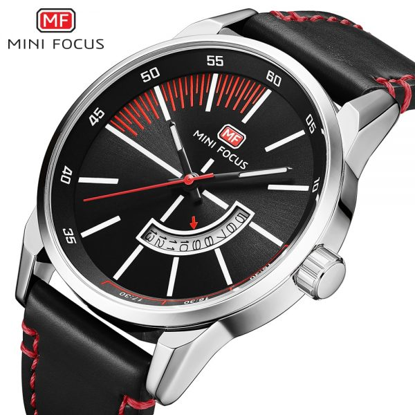 Men Watch MINI FOCUS Men's Quartz Wristwatches Genuine Leather Male Top Brand Luxury Wrist Watch with Calendar Relogio Masculino