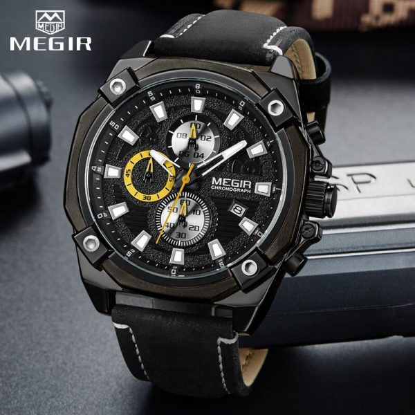Men Watches MEGIR Top Brand Men's Fashion Sports Quartz Watch Male Military Waterproof Big Dial Chronograph Relogio Masculino