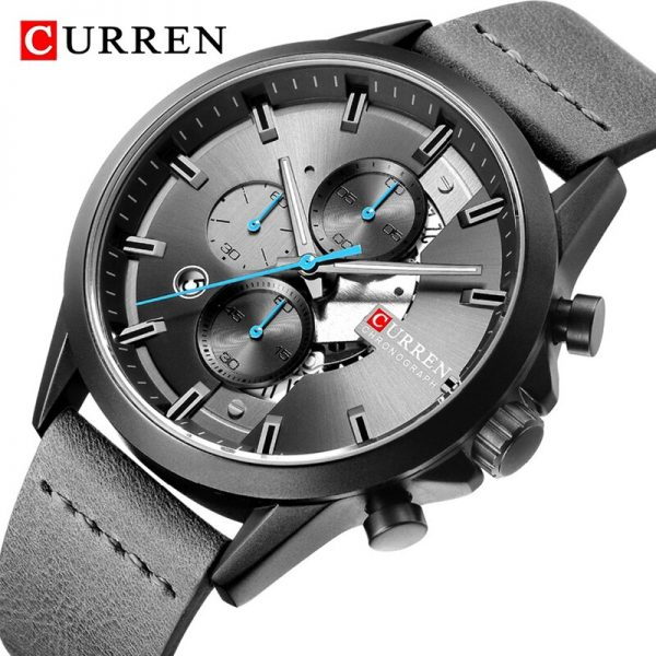 New CURREN Luxury Brand Mens Watches Military Leather Sport Watch Men Army Watch Man Quartz Clock Chronograph Relogio Masculino