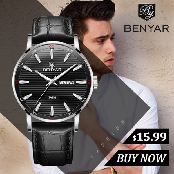 New Watches Mens Top Brand Luxury BENYAR Quartz Wrist Watch Men 2019 Fashion Casual Leather Reloj Hombre Luminous Military Watch