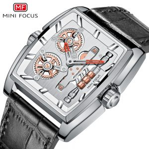 Relogio Masculino MINIFOCUS New Chronograph Men Watches Top Brand Luxury Leather Band Quartz Clock Waterproof Square Dial Watch