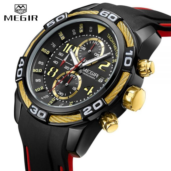 Top Brand MEGIR Men Fashion Business Watches Quartz Date Clock Man Luxury Chronograph Army Military Watches Relogio Masculino