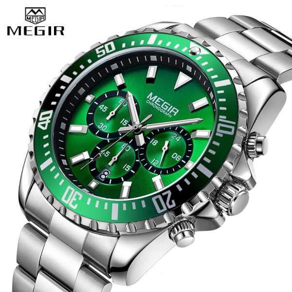 Top Brand MEGIR Men Quartz Watch Silver Steel Business Clock Chronograph Waterproof Mens Sports Watches Luxury Men's Wrist Watch