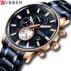 Top Luxury Brand CURREN Watch Men Military Chronograph Stainless Steel Waterproof Sport Quartz Wristwatch Men Watches Date Clock