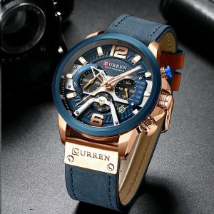 CURREN Luxury Watches Fashion Quartz Chronograph Waterproof Leather