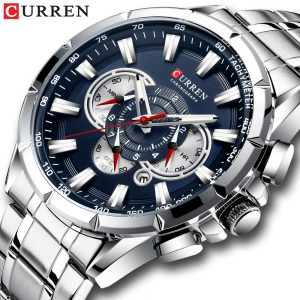 CURREN Casual Sport Chronograph Men's Watches Stainless Steel Band Wristwatch Big Dial Quartz Clock with Luminous Pointers