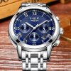 LIGE Luxury Chronograph Business Quartz Watch Men 11689