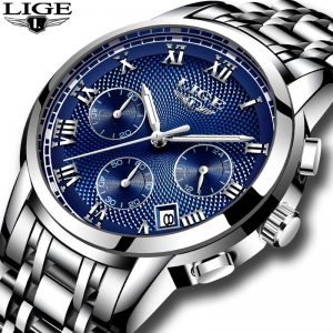 LIGE Luxury Chronograph Business Quartz Watch Men