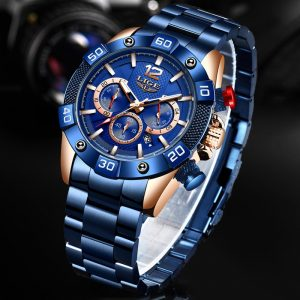 LIGE Fashion Blue Top Brand Luxury Clock Sports Chronograph Waterproof Quartz Watch Men