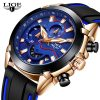 LIGE Silicone Strap Top Brand Waterproof Sports Chronograph Quartz Watch
